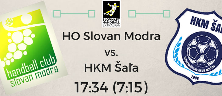 HO Slovan Modra – HKM Šaľa  17:34 (7:15)