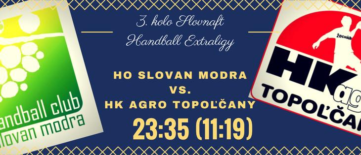HO Slovan Modra – HK agro Topoľčany 23:35 (11:19)